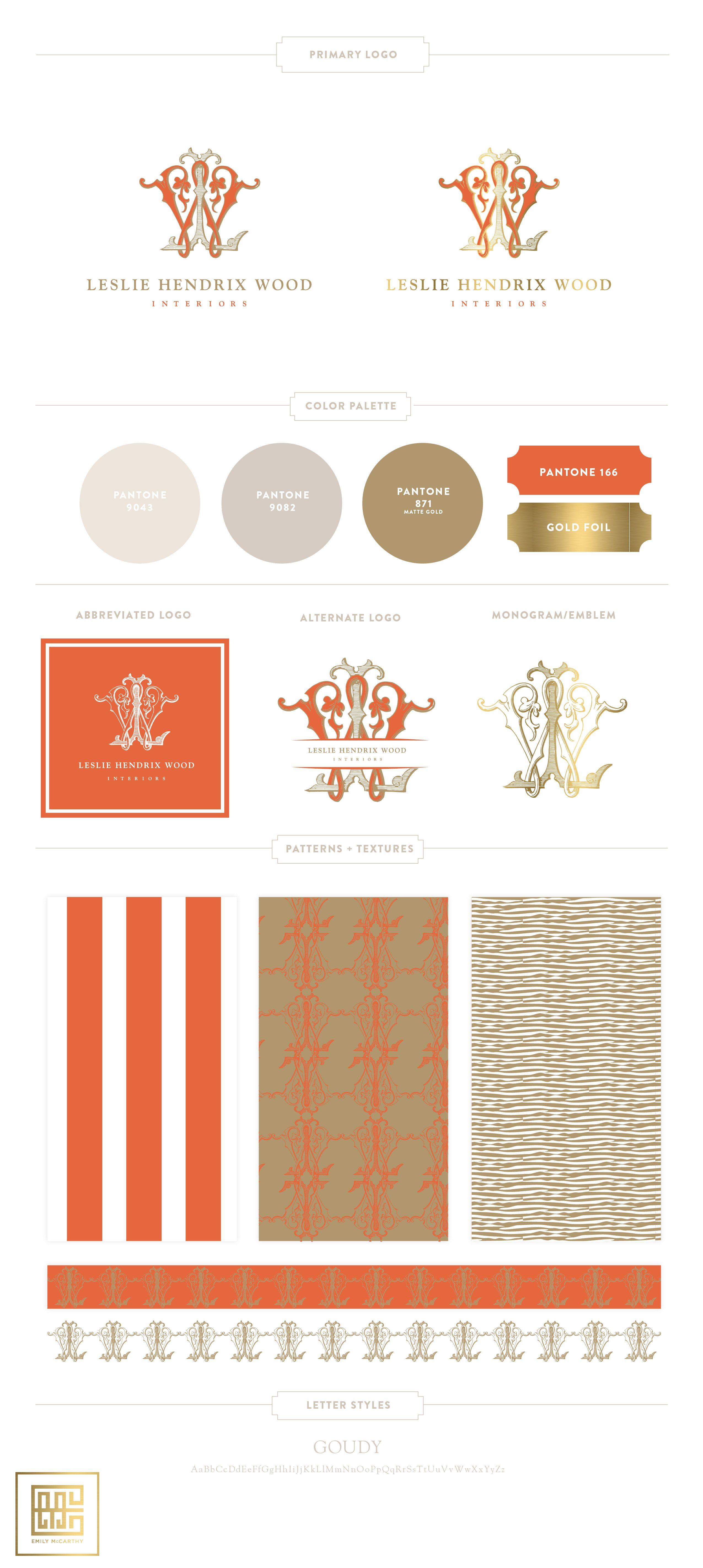 Introducing LESLIE HENDRIX WOOD INTERIORS Luxury logo