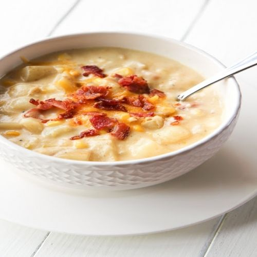 Potato Corn & Bacon Chowder., Serves: 4-6 servings, Directions: 1. Set a large stock pot or dutch oven over medium-low heat. Add butter and melt. When butter has melted add onion and leek. Add a pinch of salt to help the onion and leek sweat and cook for 4-5 minutes until tender and transparent. Add garlic and corn and cook for 3 more minutes. 2. Sprinkle in flour and whisk. Slowly add chicken broth and then milk. Turn heat up to medium-high, then add potatoes. Season with salt, pepper and…