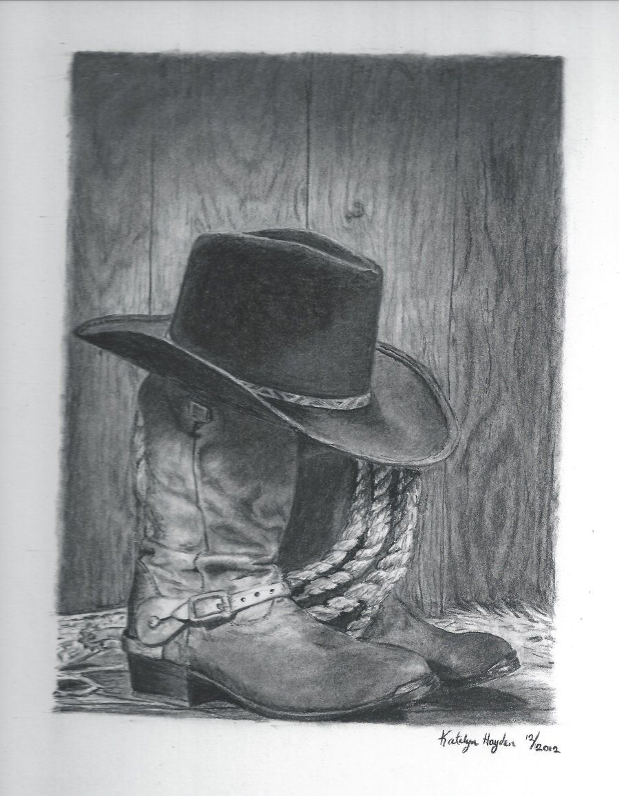 96bcd31c90505a Free Cowboy Pencil Art | cowboy boots and hat by sunbird18 traditional art  drawings still life .