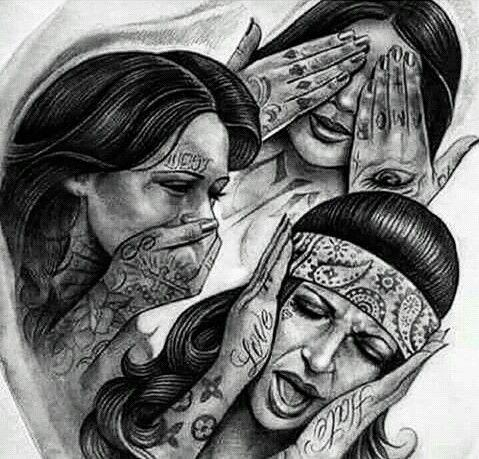 See No Evil Hear No Evil Speak No Evil Hear No Evil See No Evil Speak No Evil Google Zoeken Chicano Tattoos Evil Tattoos Chicano Drawings
