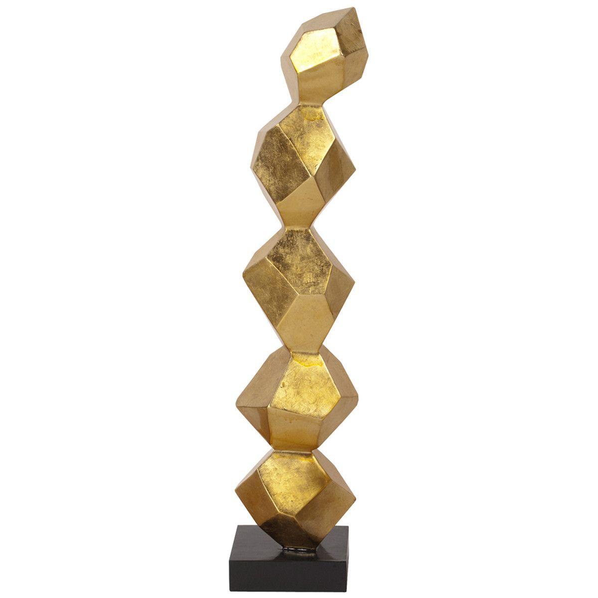 Gold leaf geometric sculpture on black base large geometric