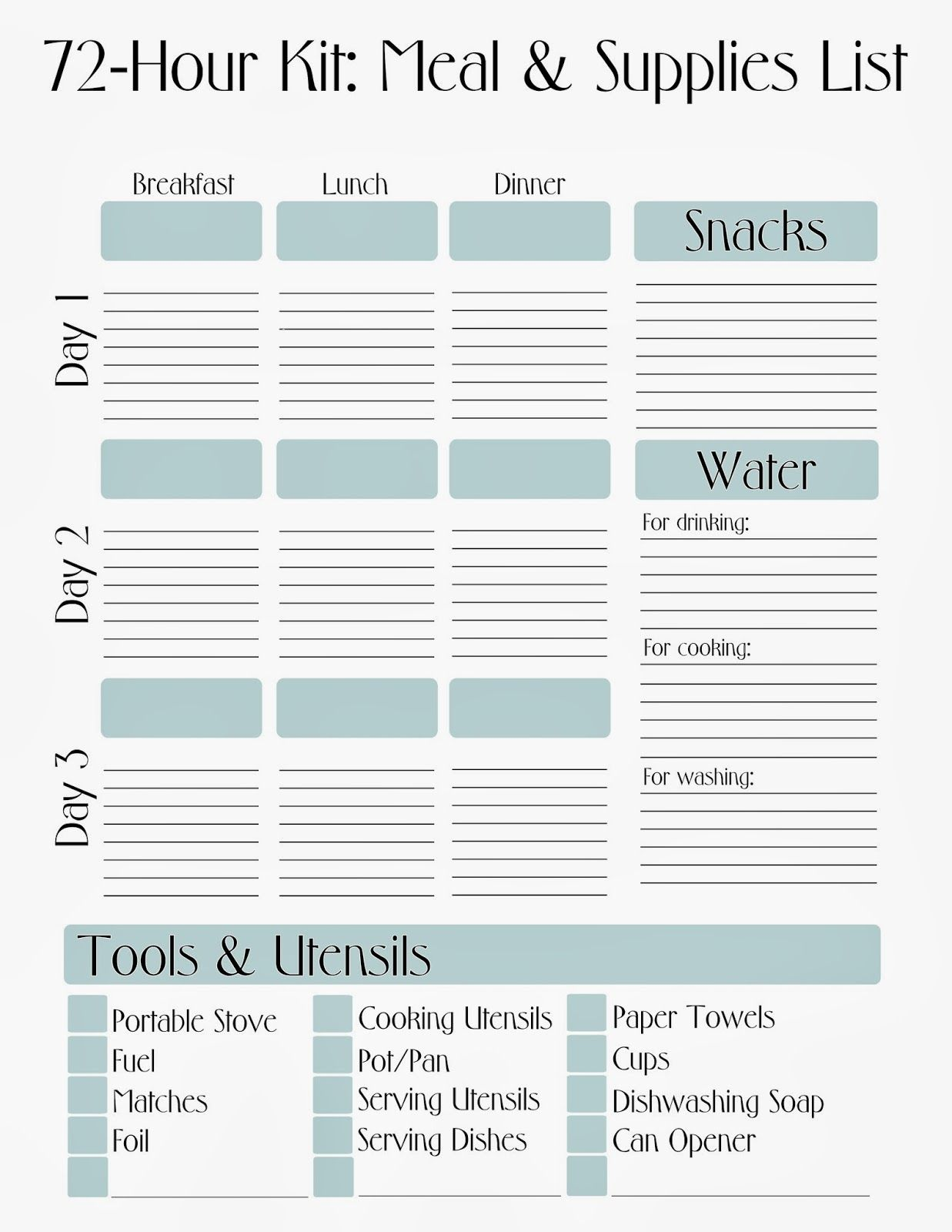 Free Printable 72 Hour Kit Meal Amp Supply List