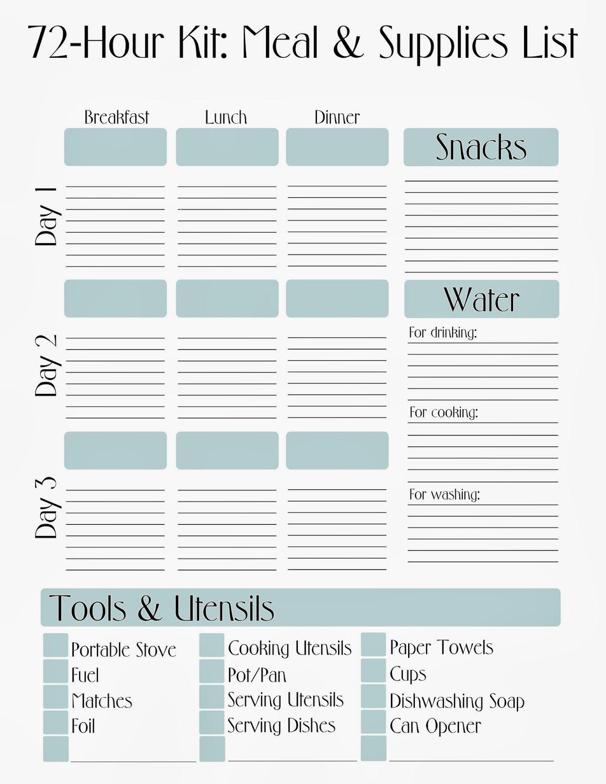 Free Printable 72 Hour Kit Meal Amp Supply List