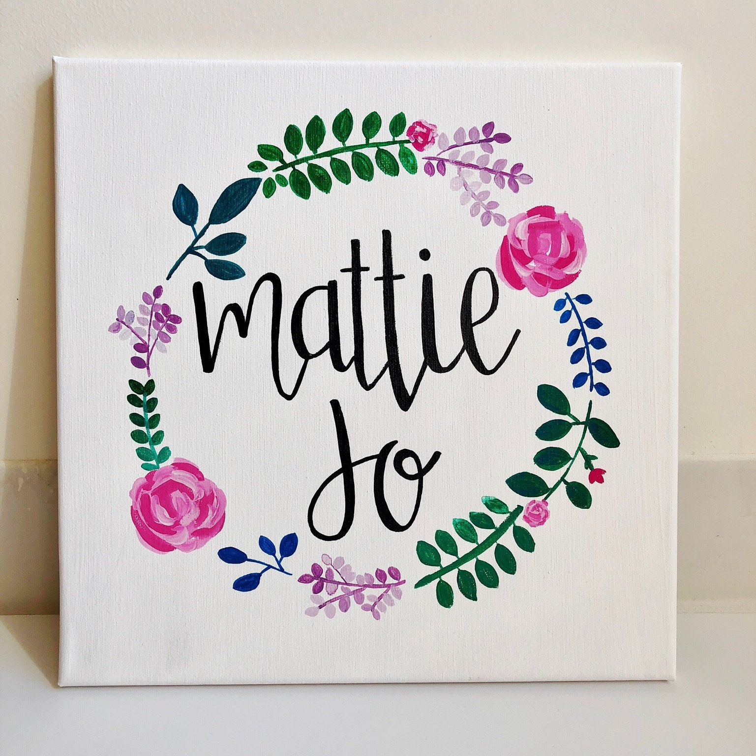 Custom Floral Name Canvas/ hand painted calligraphy name