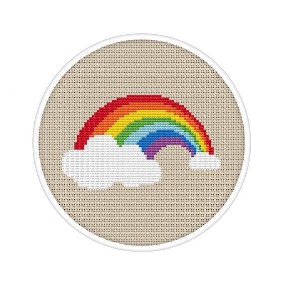 Photo of Cross Stitch Rainbow, Simple Cross Stitch, Kids Cross Stitch, Spectrum Xstitch, …