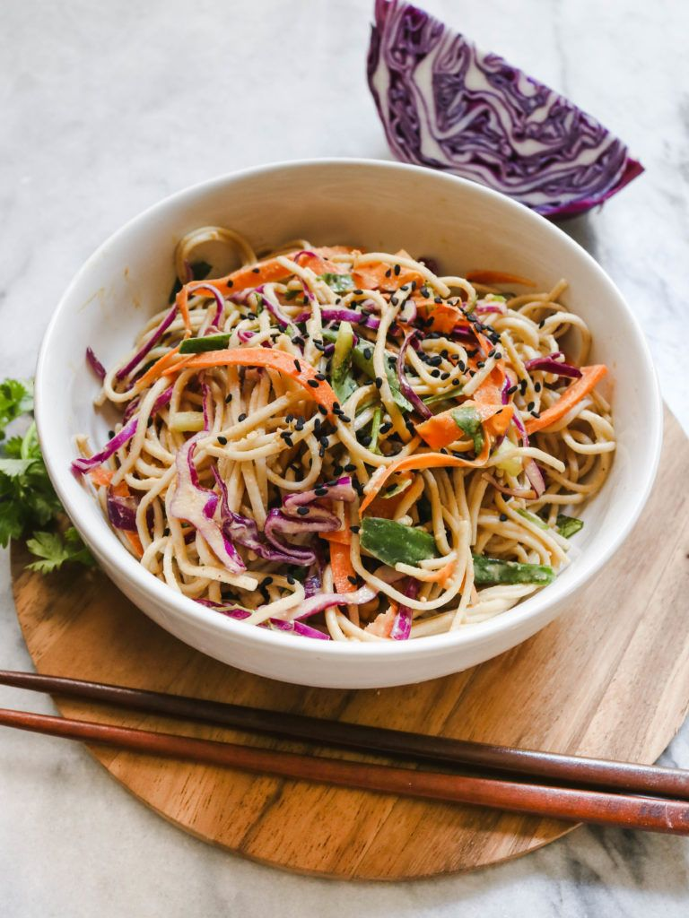 Cold Soba Noodle Salad With Peanut Sauce Vegan