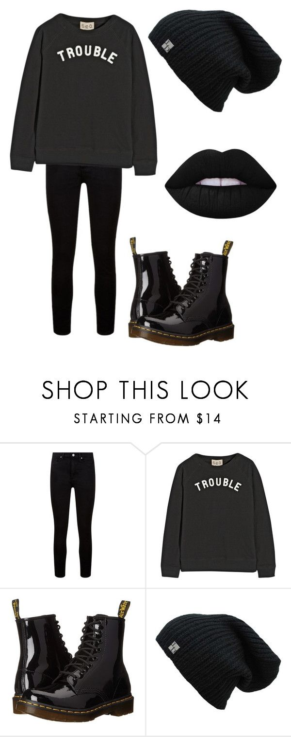 """""""Darkness"""" by emma-rose-7 ❤ liked on Polyvore featuring Paige Denim, Sea, New York, Dr. Martens and Lime Crime"""