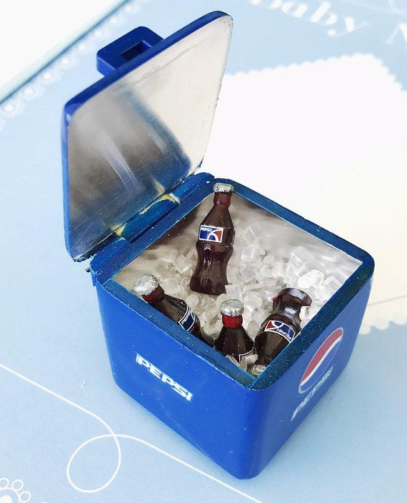 6c5ee01a Miniature Pepsi Bucket and 8 Pcs.Pepsi bottle with ice,Miniature Coke,Miniature  Coca-Cola,Dollhouse