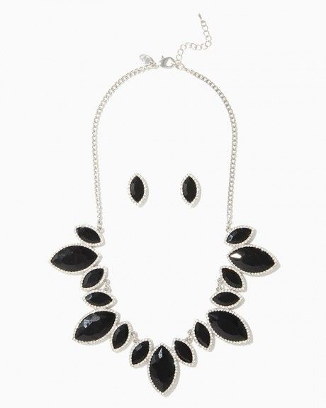 Garnished Marquise Bib Necklace Set