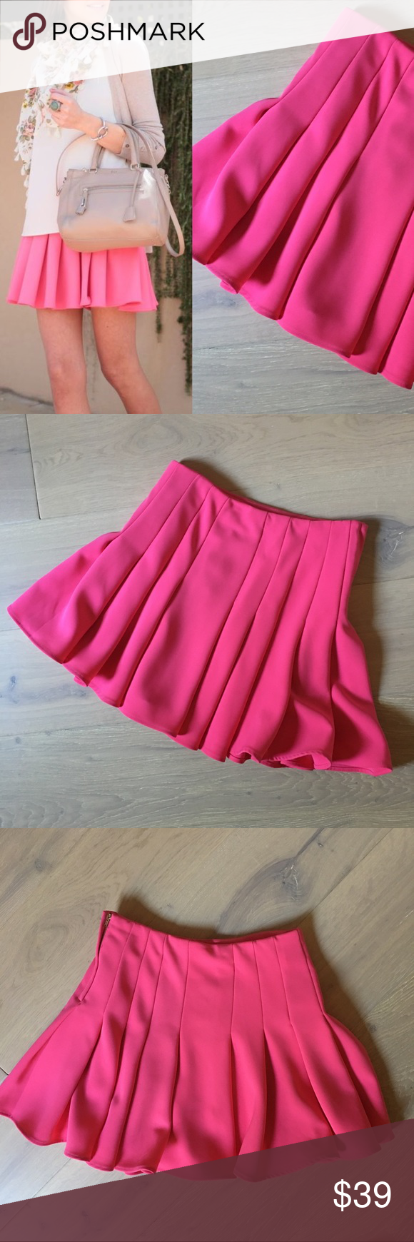 H&m pink pleated dress  Bright Pink  Fuchsia Pleated Skirt   Pink pleated skirt Bright