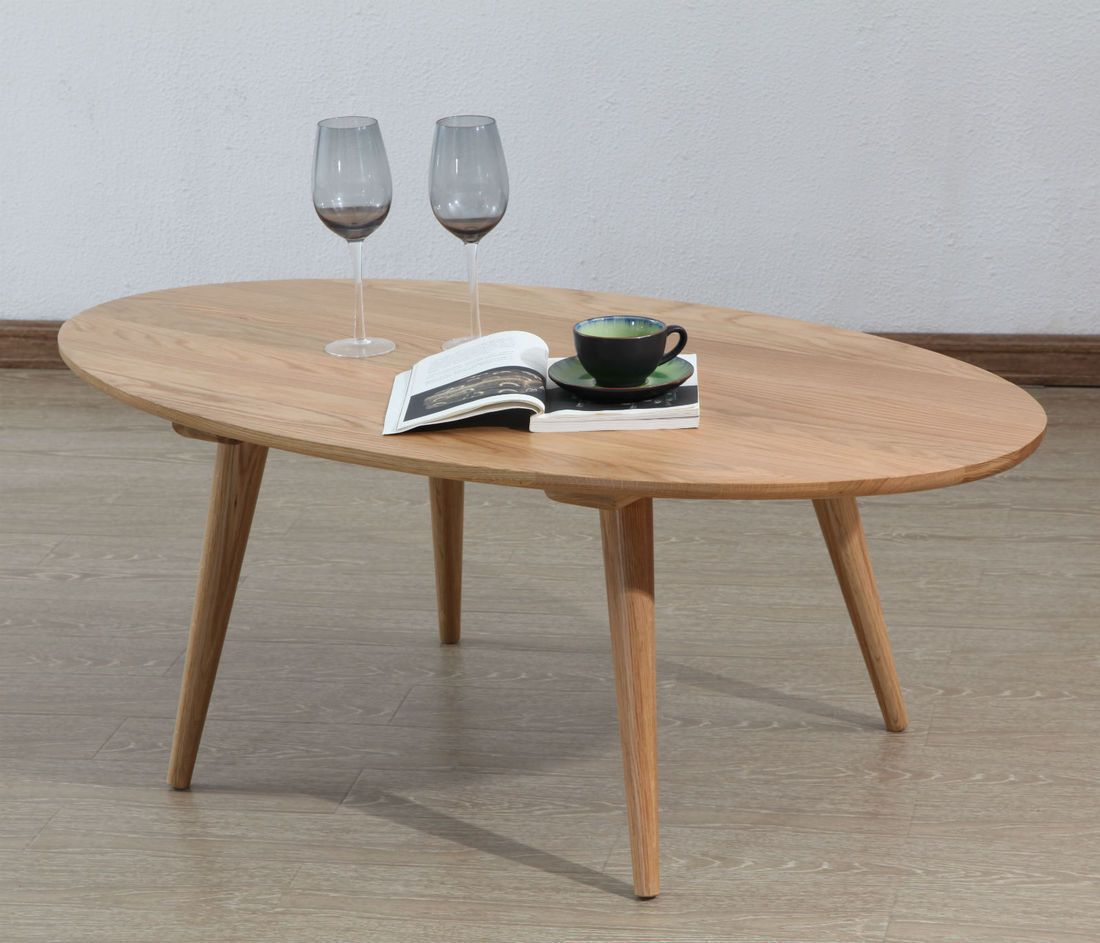 - Magnus Oval Coffee Table - Solid Oak - 120x65x45cm - ICON BY