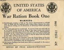 This rationing book is an example of the rationing tokens Americans were given during the war. The motto was that by cutting back on food, you were feeding the soldiers and helping them win the war.