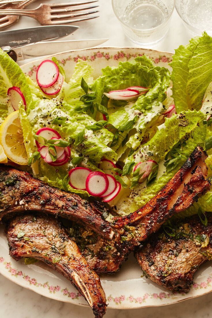 Grilled lamb chops with lettuce and ranch dressing recipe