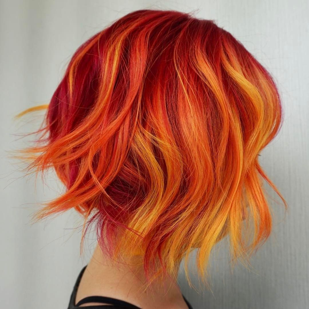 Hair By Stevie Vincent Hair Artistry Beauty Fantasy Unicorn Purple Violet Red Cherry Pink Yellow Bright Hair Colou Short Ombre Hair Fire Ombre Hair Fire Hair