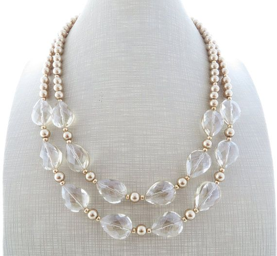 Golden Statement Necklace Clear Crystal Necklace Pearl