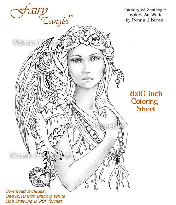 Title Fairy Dragon Queen Download Includes One 8x10 Inch PDF File And JPG First Purchase The Coloring Page Print Color Enjoy Your
