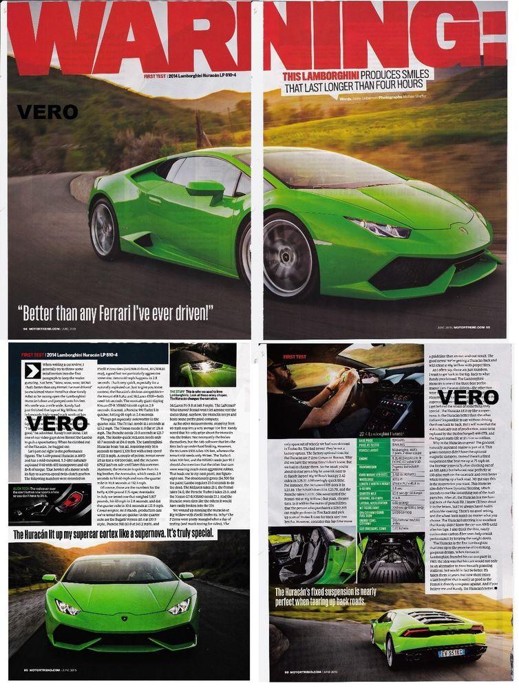 Lamborghini Huracan Lp 610 4 2017 Green Car Ad Report Clipping Produces Smiles