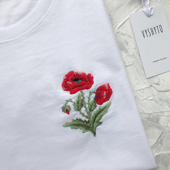 11fc8dcdacb7d Hand embroidered shirt, Floral t-shirt, Unusual women's tee ...