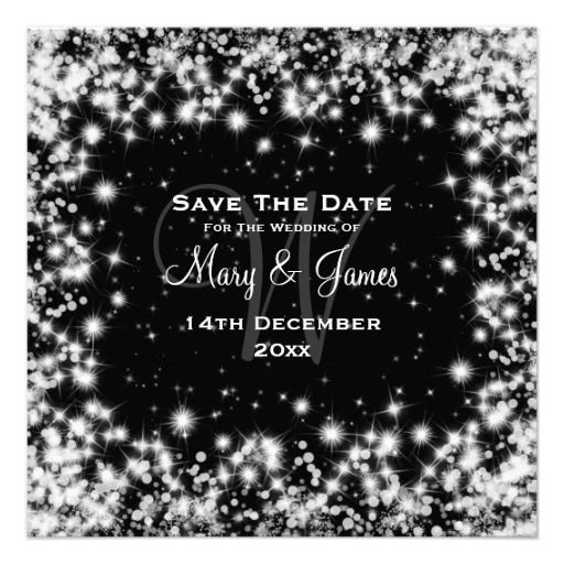 Elegant Wedding Save The Date Winter Sparkle Black Invite