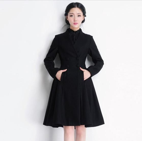 Double Ted Swing Women Long Black Coat Dress Wool Jacket Winter Woolen Overcoat For Las Outerwear Wc037