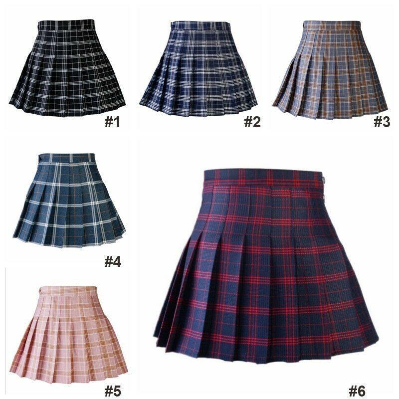 Lady Tennis High Waist Plaid Skirt Flared Pleated Short Skirt School Girl Dress