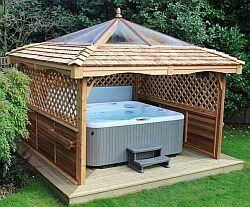Hot Tub With A Hut Hot Tub Gazebo Hot Tub Backyard Hot Tub Garden