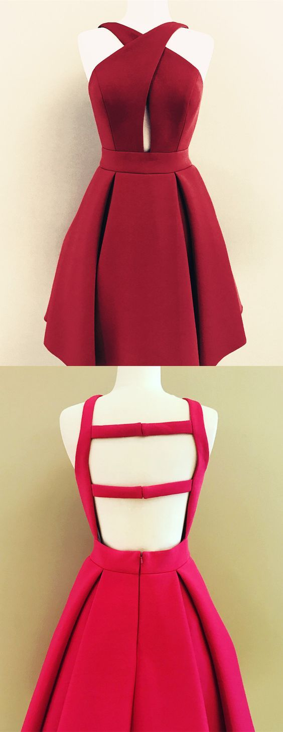 Charming satin prom dress red backless homecoming dress prom
