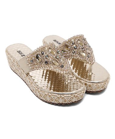 Look at this #zulilyfind! Gold Embellished Lace Leather Sandal #zulilyfinds