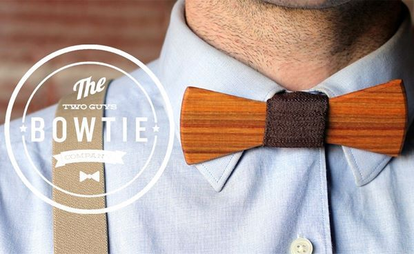 Bill Wooden Bow Tie by Two Guys Bow Ties