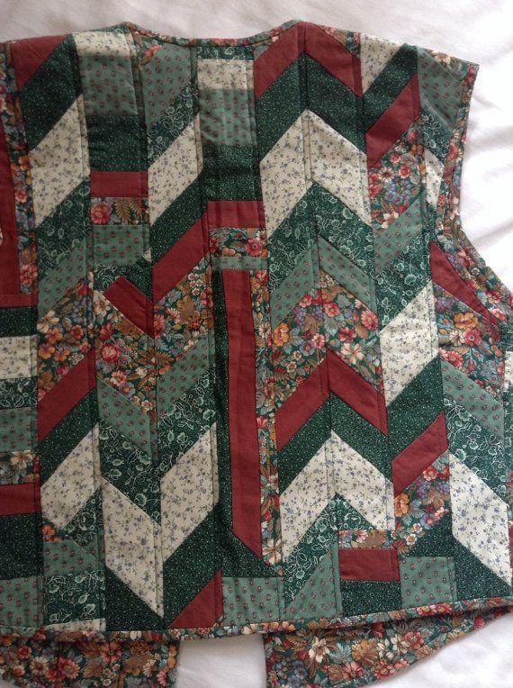 Vintage 1980's patchwork vest quilted vest by QuilterAnniesCloset