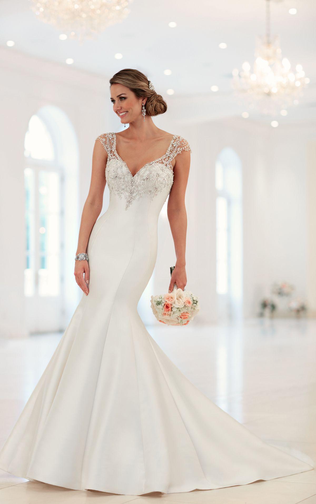 Cap Sleeve Trumpet Wedding Dress with Beaded Illusion Back ...