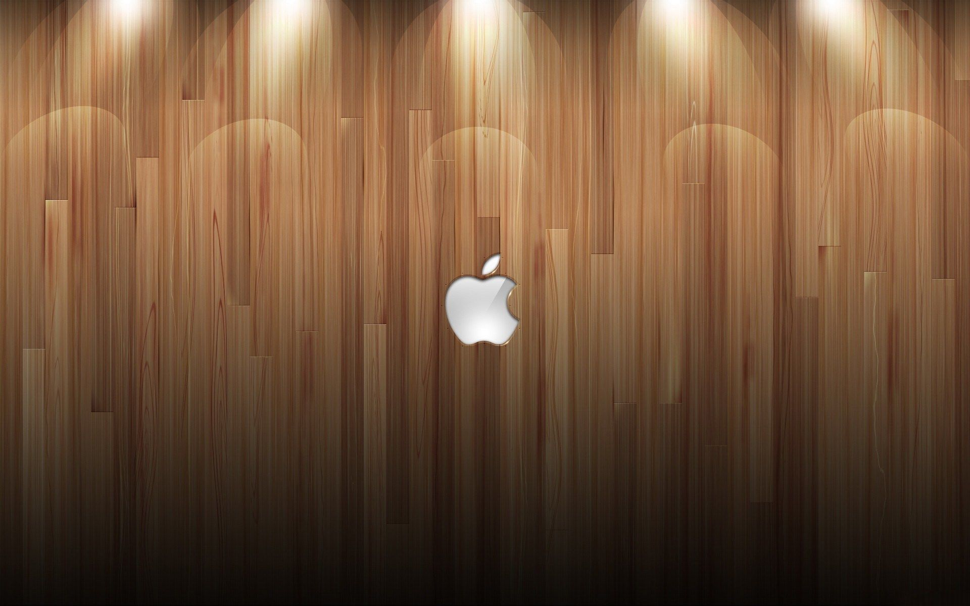 Apple Logo Wood Background Lights Desktop Wallpaper