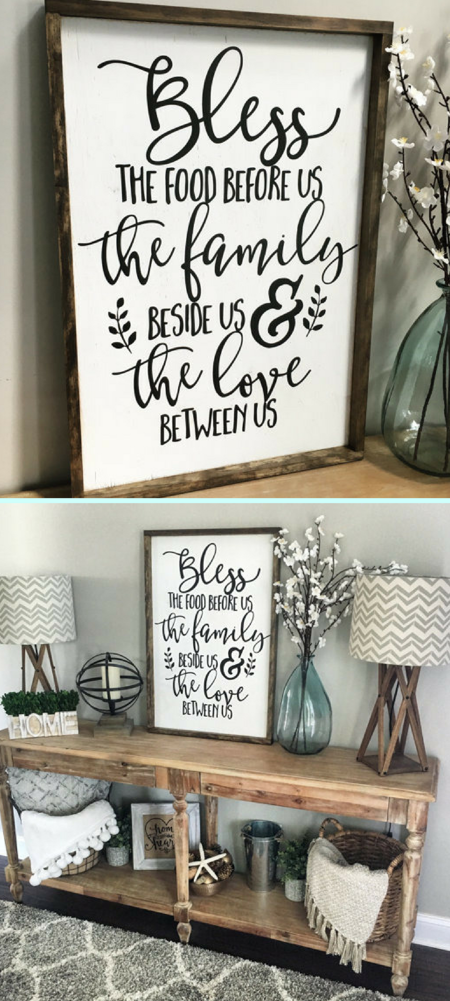 7d886a7c579 Love this farmhouse sign for my dining room! Bless the food before ...