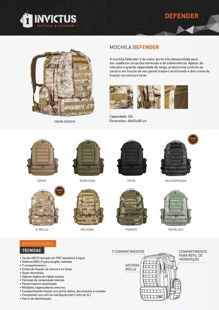 e5ad0851c Mochila Tática Defender Invictus Militar Combate Camuflado Digital ACU