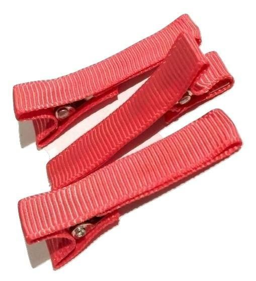 """Coral partially lined alligator clips 1.8"""""""