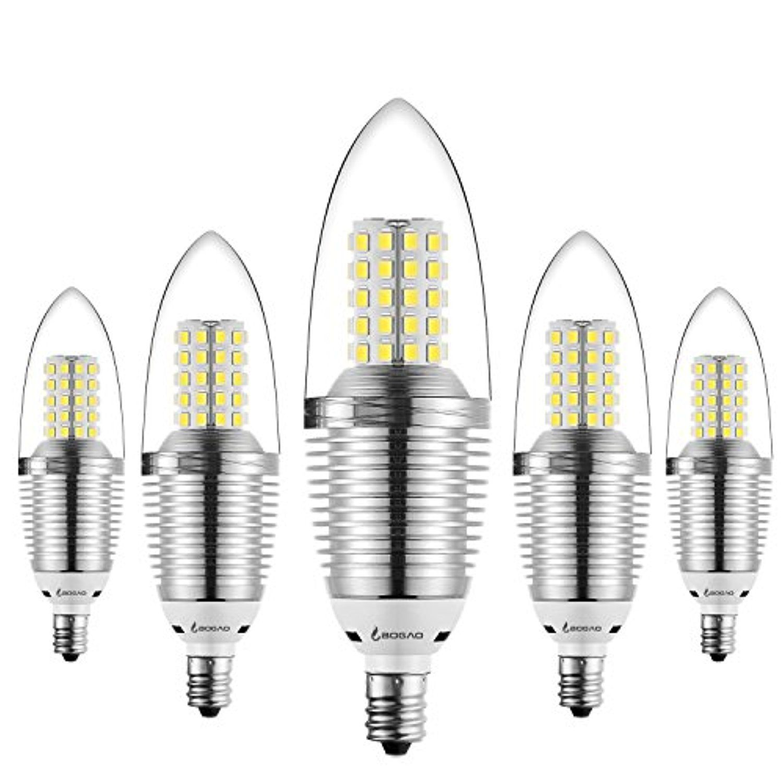 Bogao 5 Pack Led Candelabra Bulb 9w Daylight Led Candle