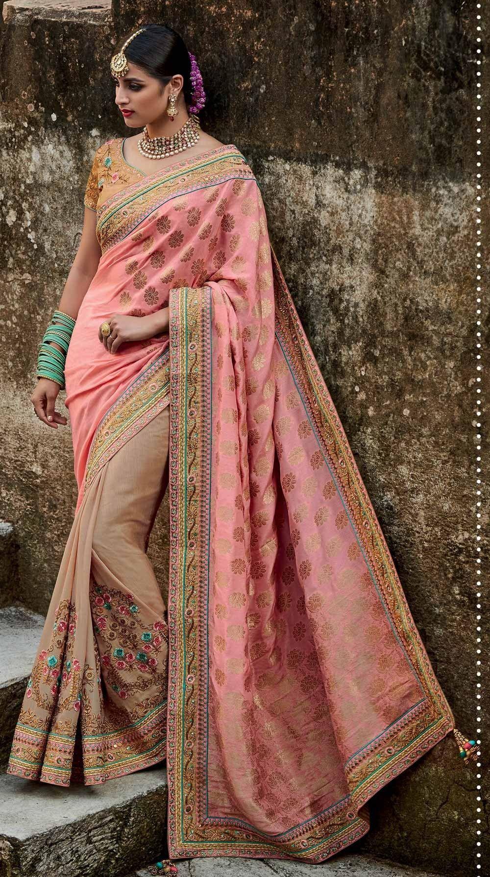 c478267dfd812f Rose Pink Designer jacquard silk wedding saree