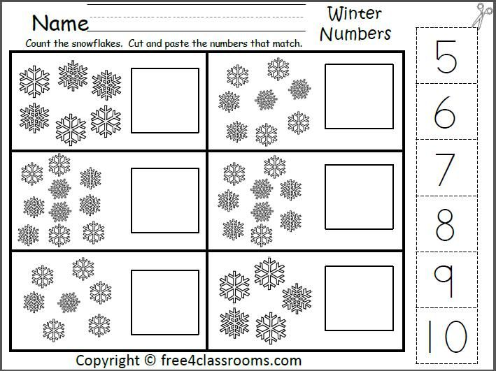 Winter Number Matching Worksheet For The Numbers 5 To 10
