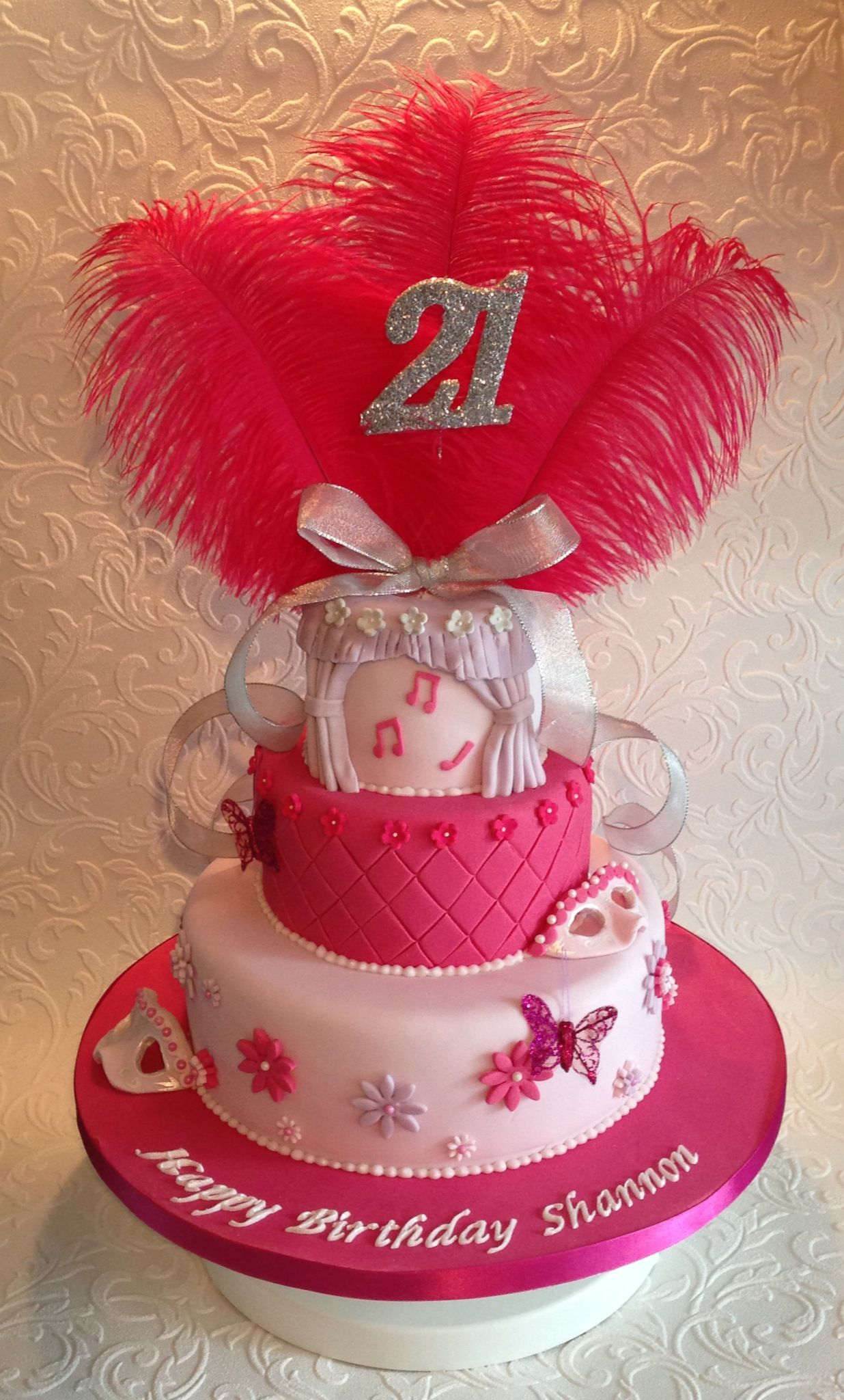 This 3tiered pink and sparkly spectacular cake was made for a