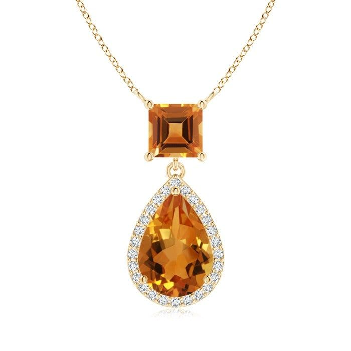 Angara Pear Drop Citrine Diamond Halo Vintage Pendant in White Gold tO7efeVC9