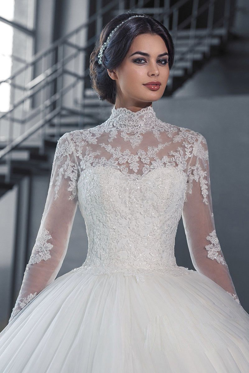 Luxury High Neck Lace Ball Bridal Gown Long Sleeve Sheer Wedding