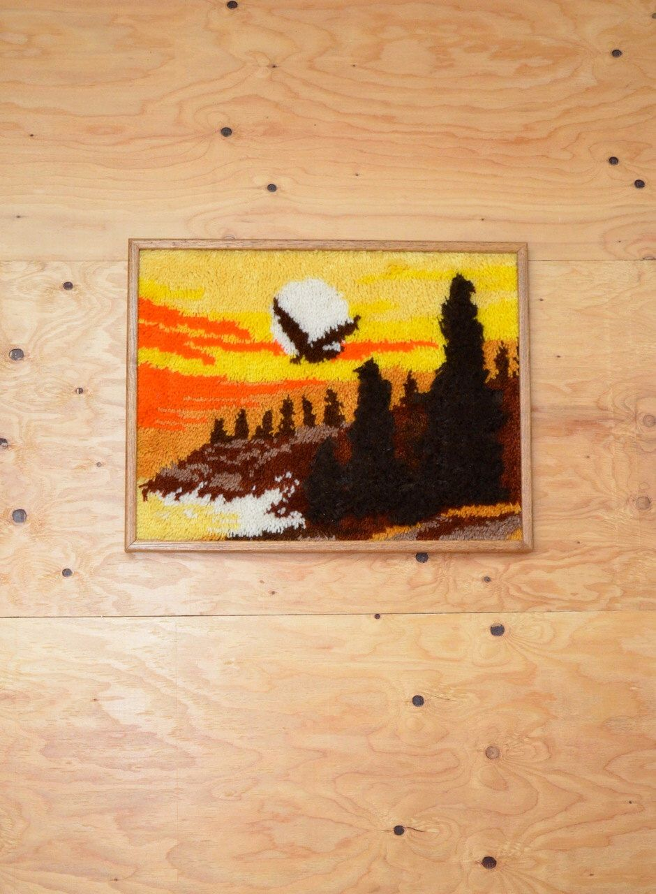 Vintage 70\'s Large Loop Rug Wall Art Hanging Desert Scene With Eagle ...