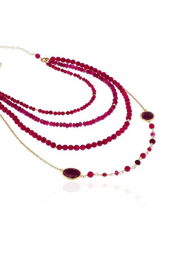 Collar de perlas oro largo Multi capa por toosis en Etsy