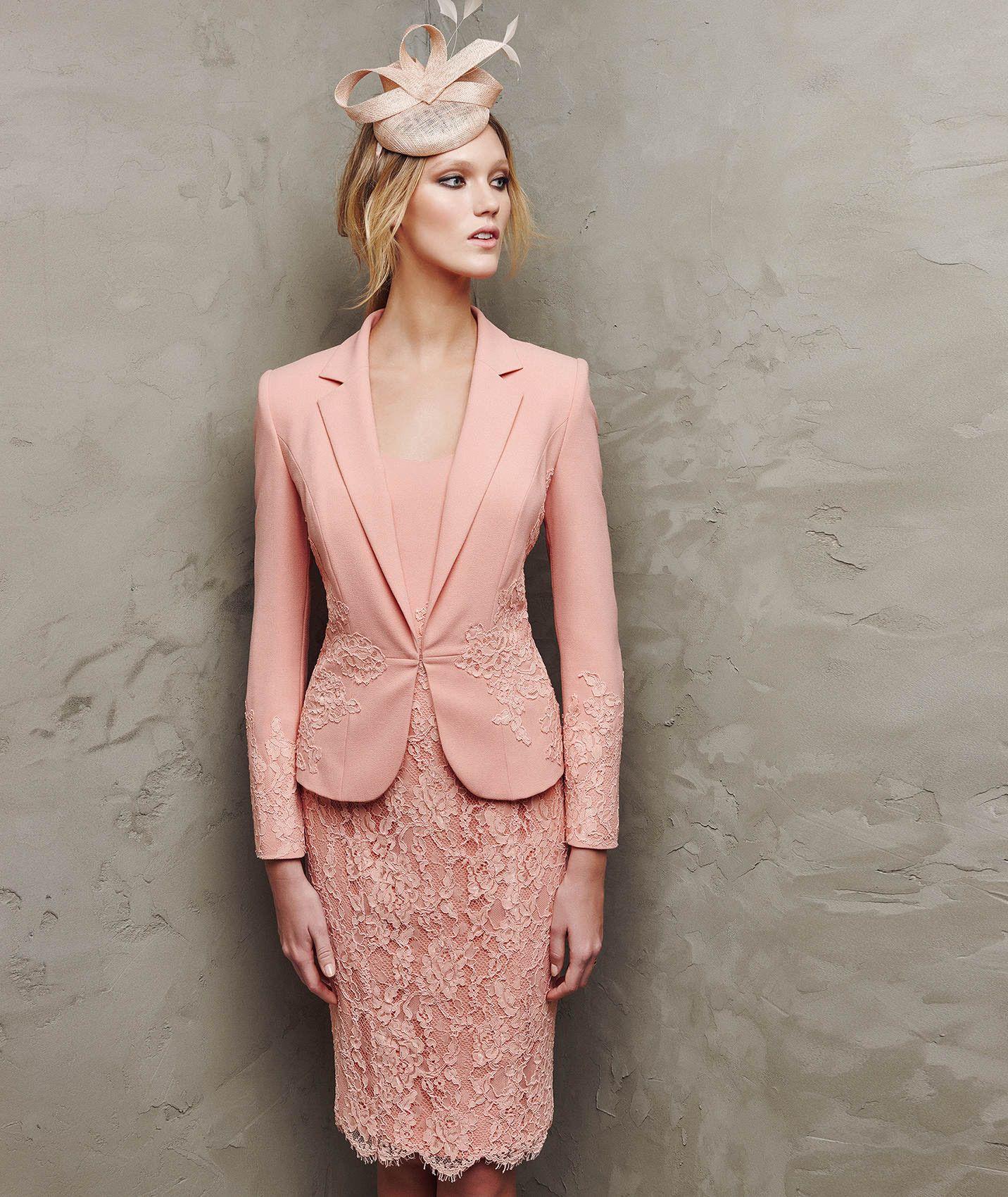 Vestido de crepe y encaje de fiesta | novias | Pinterest | Encaje ...