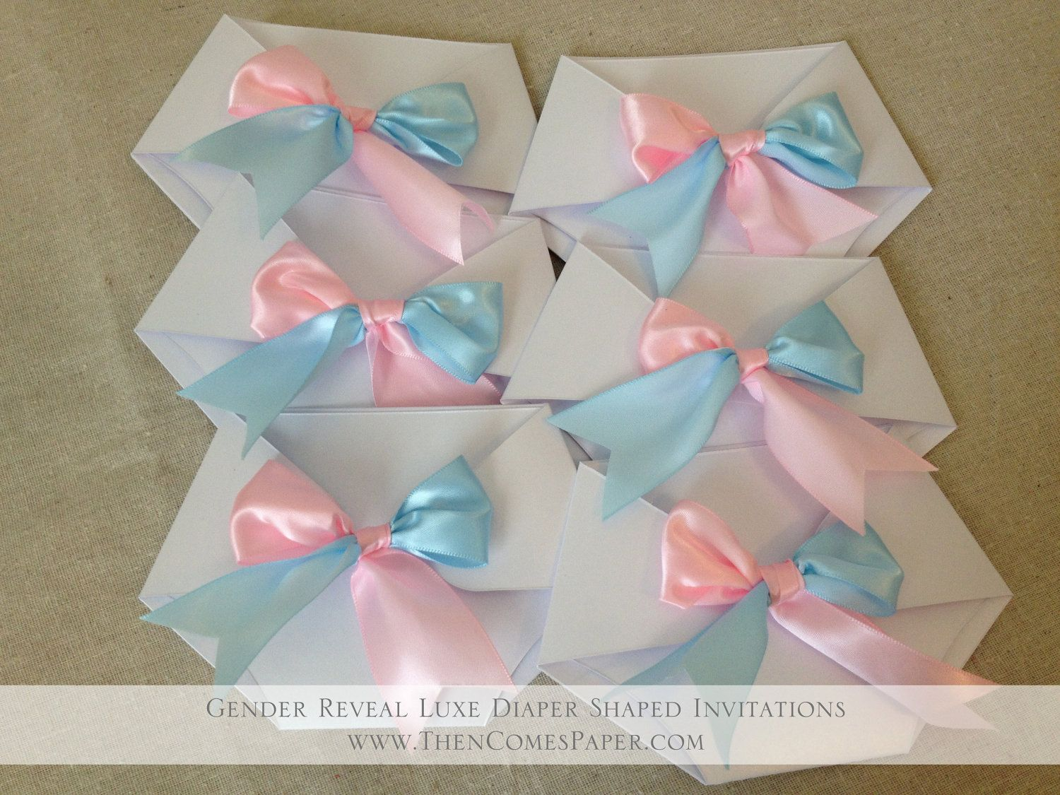 Gender Reveal Diaper Shaped Baby Shower Invitation  Luxe