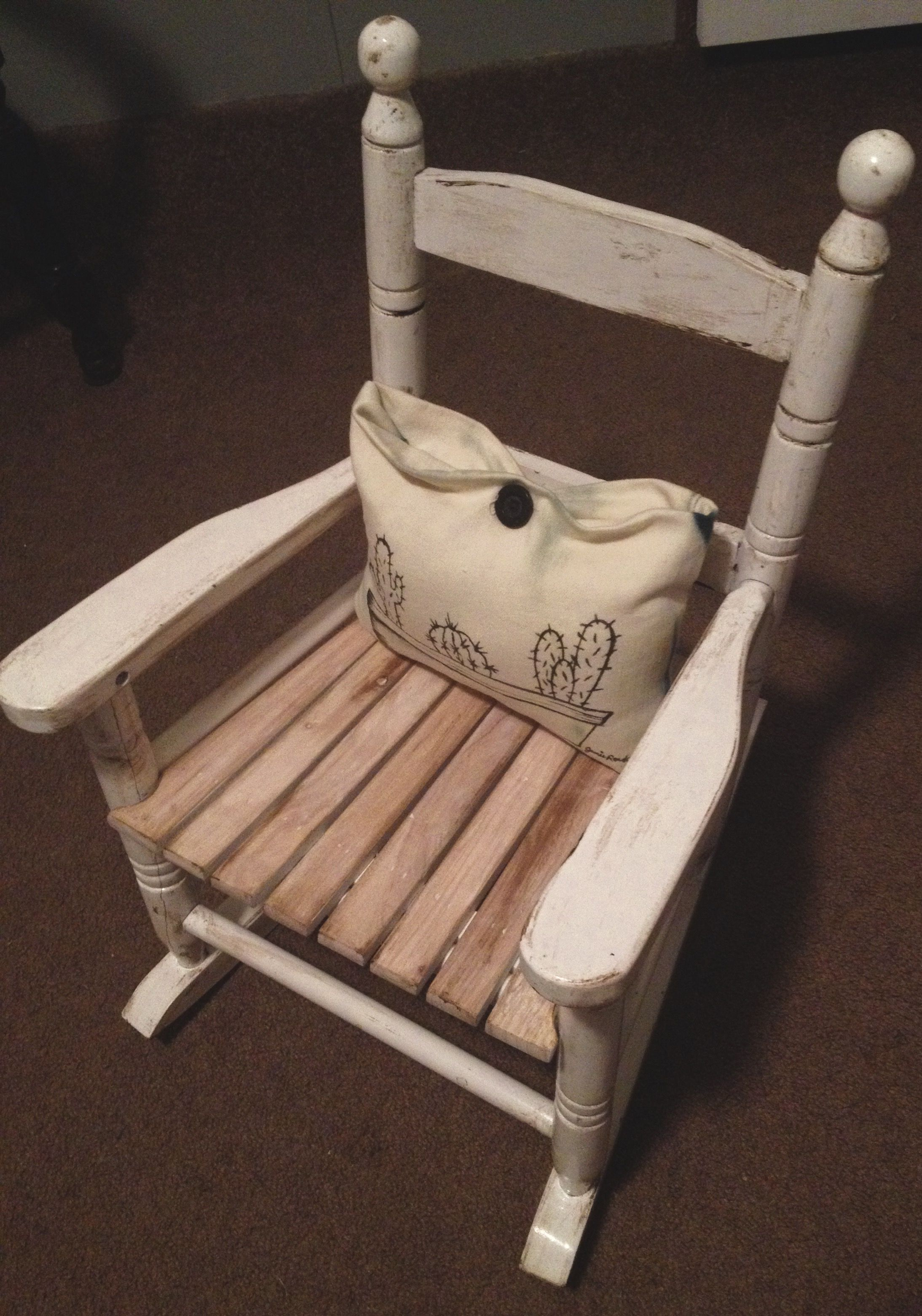 DIY wooden rocking chair! Sanded the seat, and used Briwax