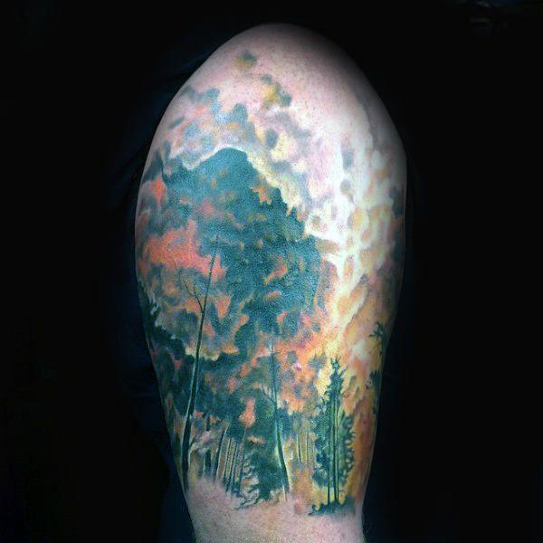d4c6891f4 Upper Arm Mens Forest Fire Tattoos Half Sleeve | Tattoo | Fire ...