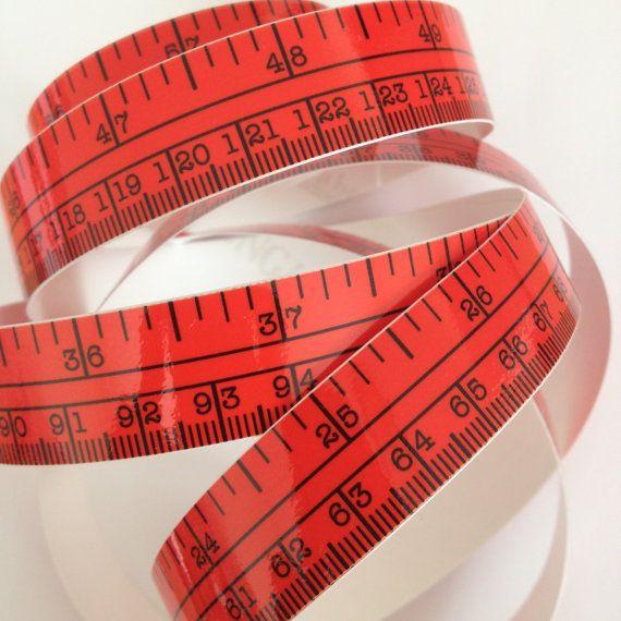 60 Red Self Adhesive Vinyl Measuring Tape Sticker Etsy Adhesive Vinyl Adhesive Tape Measure