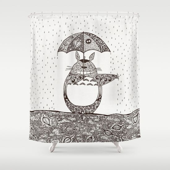 Happy Totoro Shower Curtain