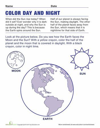 Kindergarten Coloring Plants Animals The Earth Worksheets Teaching Day And Night